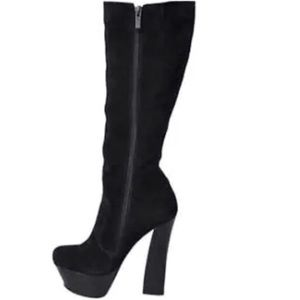 H by Halston black suede boots
